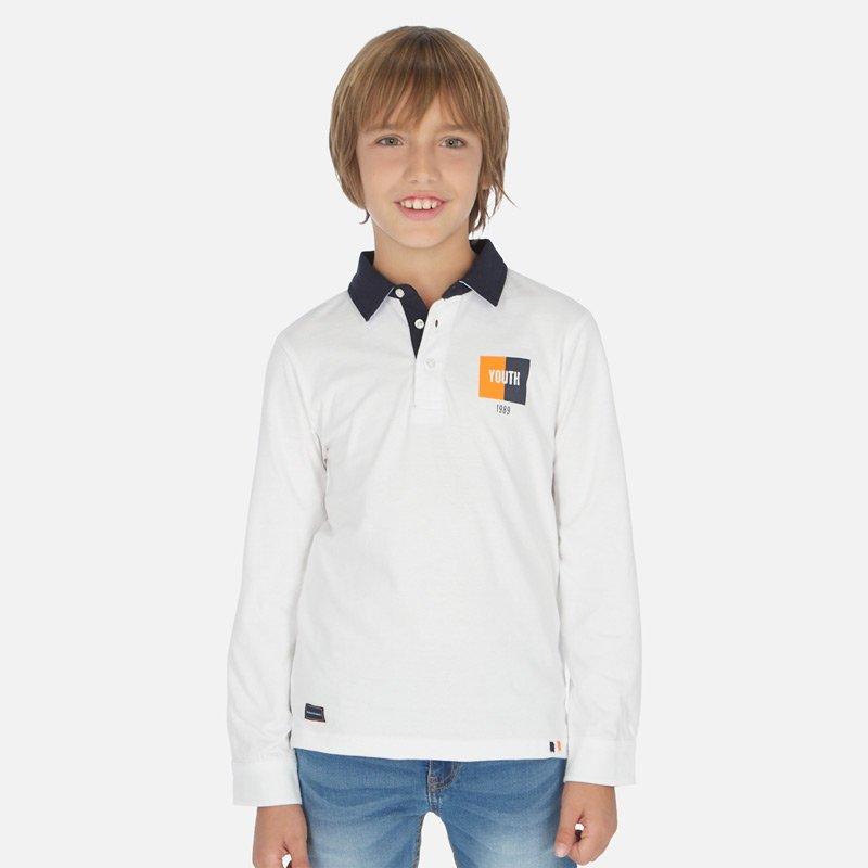 Παιδικό πόλο μακρυμάνικο Mayoral λευκό 20-06146-062