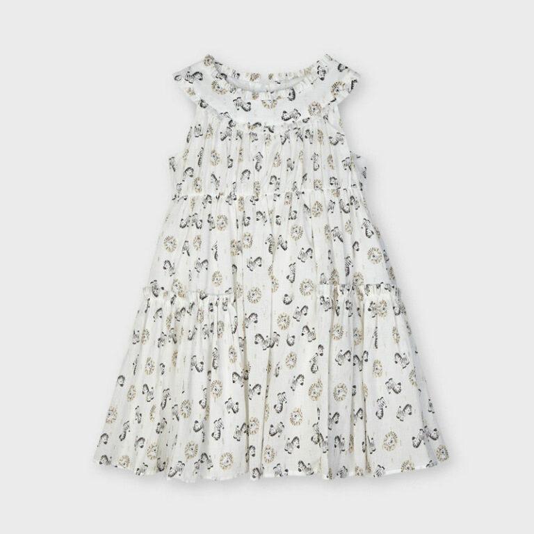 Παιδικό φόρεμα Mayoral βουάλ εκρού 21-03943-003